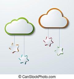 Nubes modernas vectores con estrellas