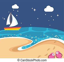 nubes, playa noche, barco, mar, cielo, oscuridad, paisaje, arena, pasos, sandalias