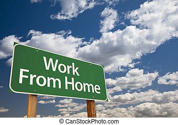 nubes, trabajo, señal, verde, hogar, camino