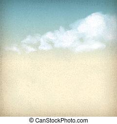 nubes, vendimia, cielo, papel, plano de fondo, textured, viejo
