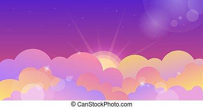 nubes, violeta, ocaso, color, cielo