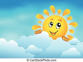 nublado, 1, cielo, sol, se ocultar