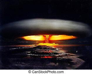 nuclear, tiro, noche