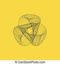 Nudo de cola. Estructura de conexión. Vector 3D ilustración.