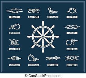 Nudos de cuerda náuticos fijados