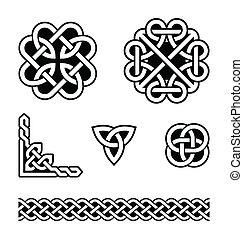 nudos, patrones, celta, vector, -