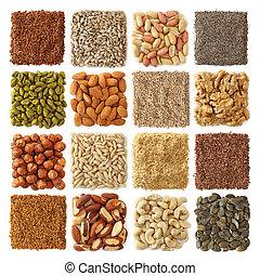 nueces, semillas, aceite