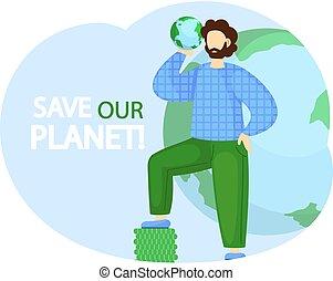 nuestro, earth., hands., pequeño, verde, ecosistema, concepto, globo, el suyo, tipo, planeta, posición, excepto