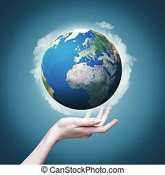Nuestro mundo en nuestras manos, ambientes ecológicos abstractos para tu diseño