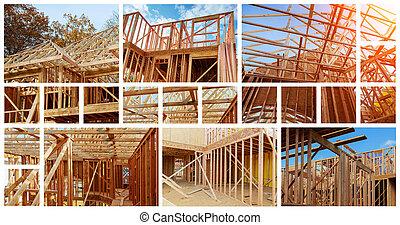 Nueva casa de construcción residencial enmarcada contra un cielo azul. El concepto de servicio para salir con un collage de fotos