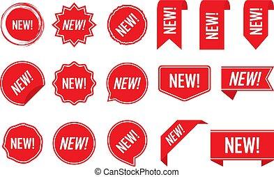 Nuevas etiquetas, roja aislada en el fondo blanco, ilustración vectorial