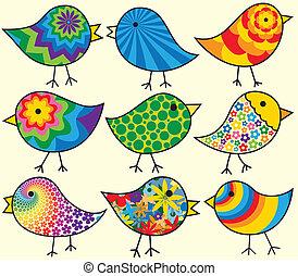 nueve, aves, colorido
