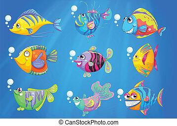 Nueve peces coloridos bajo el océano profundo