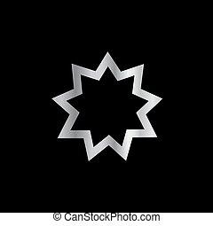 nueve, símbolo, puntiagudo, bahai, religión
