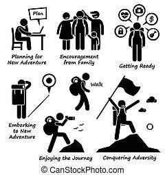 nuevo, aventura, adversidad, conquistar