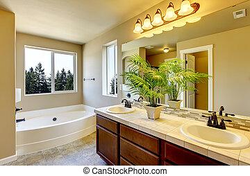Nuevo baño en casa con ducha y baño.