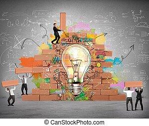 nuevo, bulding, idea, creativo