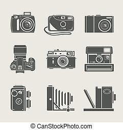 nuevo, cámara, retro, icono