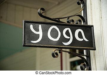 nuevo, calle, estudio del yoga, inglaterra, señal, primer plano