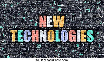 Nuevo concepto de tecnología. Multicolor en la pared oscura.