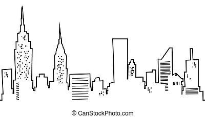 nuevo, contorno, caricatura, york