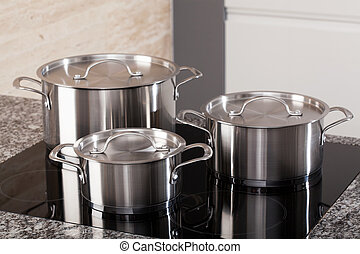 nuevo, cookware, conjunto, quemador, inducción