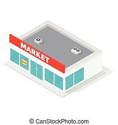 Nuevo edificio de supermercados isometricos