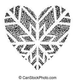 nuevo, forma, navidad, holidays., ilustración, corazón, invierno, vector, fondo., azul, copos de nieve, decoración, año