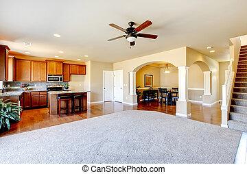 Nuevo interior de cocina y interior de sala de estar,