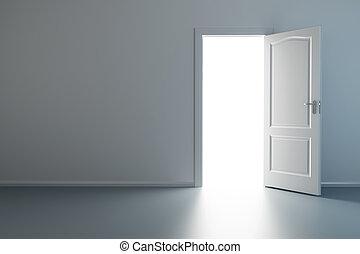 nuevo, puerta, habitación, vacío, abierto