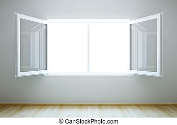 nuevo, ventana, abierto, habitación, vacío