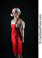 nuevo, year., claus, invierno, alegre, tradition., fondo., santa, sexy, holidays., hat., spirit., uso, cook., deportista, navidad, negro, celebrar, culturista, hombre, muscular