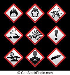 Nuevos símbolos de seguridad, signos de peligro negros