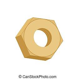 Nuez de oro aislada. Un tornillo femenino dorado en fondo blanco