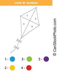 numbers., color, colorido, cometa, kids., página