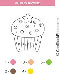 numbers., color, educativo, juego, colorido, page., kids., cupcake