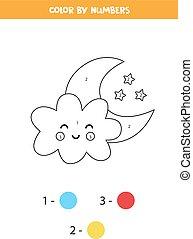 numbers., juego, colorido, kids., página, moon., matemáticas, lindo, nube, color