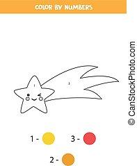 numbers., página, color, colorido, lindo, caer, star., kawaii