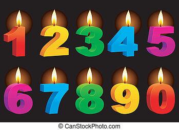numerado, candles.