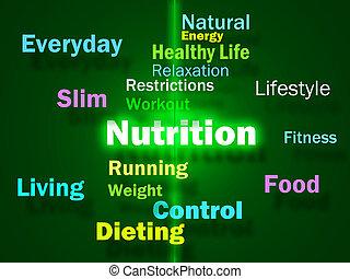 nutrición, vitaminas, sano, nutrientes, actuación, alimenticio, alimento, palabras