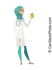 nutricionista, fresco, ofrecimiento, rojo, apple.