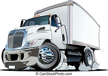 o, carga, caricatura, camión, entrega
