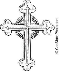 o, católico, ortodoxo, bosquejo, cruz
