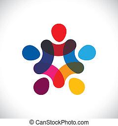o, comunidad, colorido, juego, también, círculos, tenencia, friendship-, trabajadores, solidaridad, vector, y, manos, graphic., lata, unión, unidad, niños, esto, ilustración, juntos, representar, concepto, etc