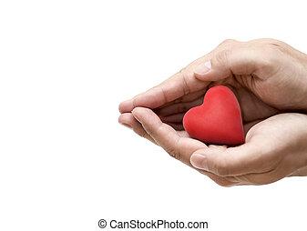 o, concepto, salud, hands., corazón rojo, amor, seguro