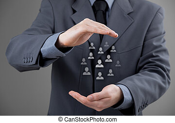 o, cuidado, empleados, cliente, concepto