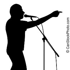 o, dedo, cantante, de motivación, conferenciante, político, hombre de negocios, discurso, señalar