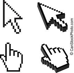 o, dimensional, cursor, conjunto, dos, tres, forma