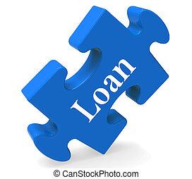 o, hipoteca, préstamo, rompecabezas, exposiciones, prestar, préstamo bancario