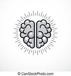 o, ilustración, cerebro humano, anatómico, vector, icon., logotipo